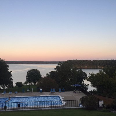 View of the pool and Kentucky Lake from Kenlake lodge