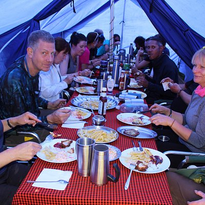 enjoying meals on Kilimanjaro