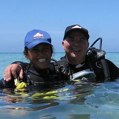 Iain and Oui, owners of Sharkey Scuba Dive Center in Karon, Phuket