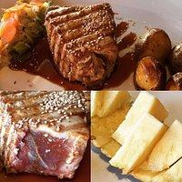 Bife de lombo de atum, qualidade extra, bem, médio ou mal passado, é o cliente que decide