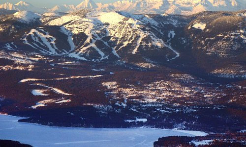 Aerial view of Whitefish, Whitefish Lake, Whitefish Mountain Resort and Glacier National Park