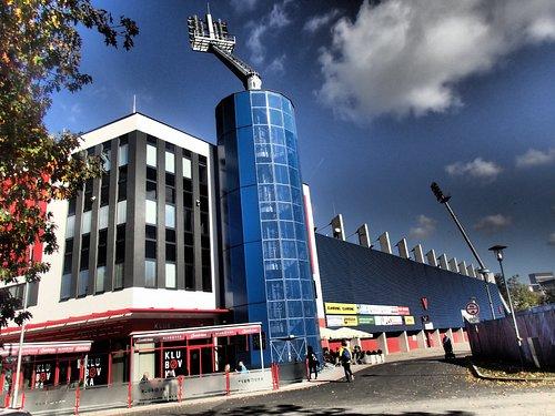 Stadium and restaurant.