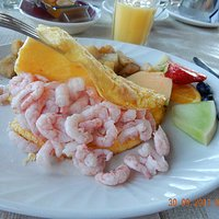 Omlette with shrimps.