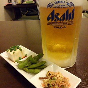 Extra large draft beer and appetizer