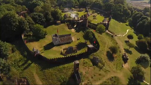 Aerial photo of mountfitchet castle