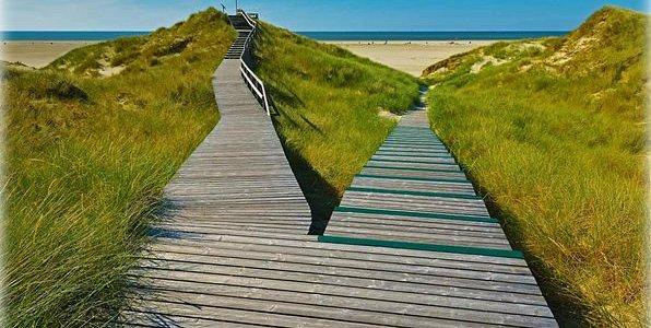 A boardwalk in Norddorf on Amrum Island, Germany
