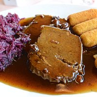 Sauerbraten, croquettes and cabbage