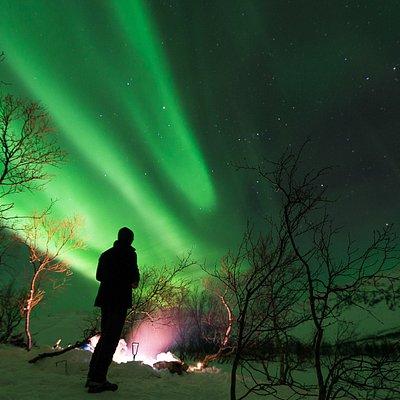 Hike & Lights. Bonfire and Aurora