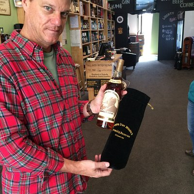 That's Sam and a $10,000 bottle of Pappy Van Winkle Bourbon.