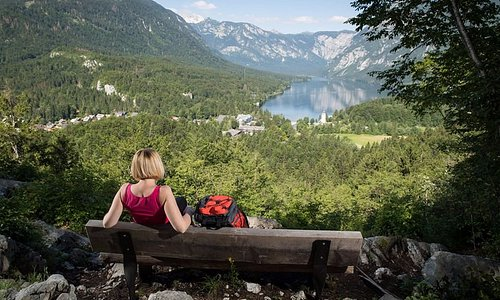 View on Lake Bohinj from Peč view point.