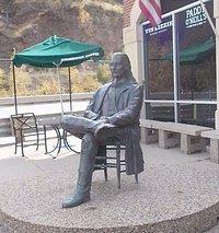 statue on the patio outside the Hampton Inn