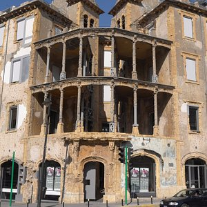 Exterior of the Beit Beirut, with war damage still visible