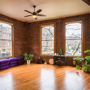 A beautiful, well-lit, open space for mindfulness and meditation.