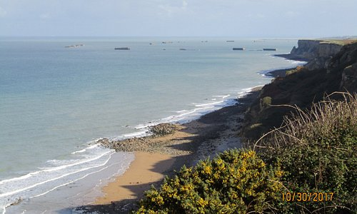 View north along cost from top of cliff near battery bunkers