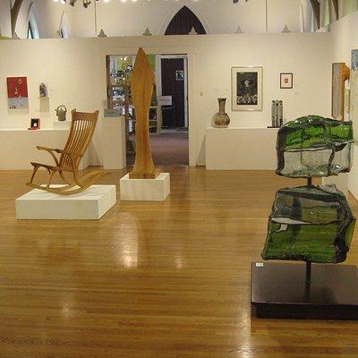 Artwork in ReDux show 2013: Curtis Johnson, chair, Susan Johnson, sculpture, Emily Steele, sculp