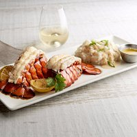 Twin Lobster Tails with Lobster Mashed Potatoes and Drawn Butter
