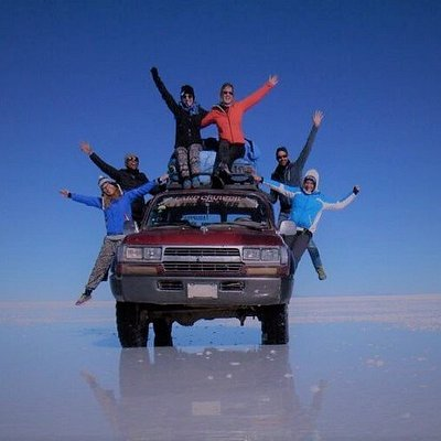Happy people in the Salar