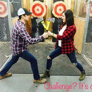 Come Compete in an Axe Throwing Challenge! Who can get the most Bulls-eyes and win?