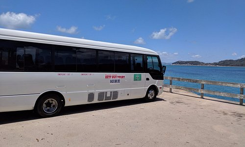Our Tour Bus visiting Geoffrey Bay to find Wallabies and Tropical Fish