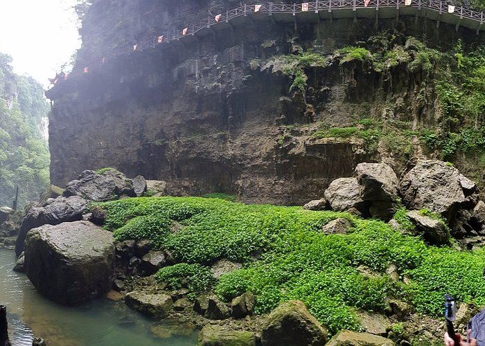 Panoramic view from under the waterfall
