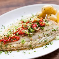 Whole rye bay plaice with chilli and crab