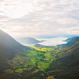 View over Omvikdalen valley next to Rosendal by the Hardangerfjord