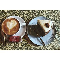 Flat white and Pecan passion cake