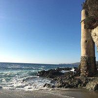 Approaching Laguna Pirate Tower on Victoria Beach