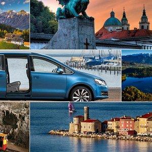 Airtrail Slovenia top destinations: Ljubljana old town-dragon bridge, Bled lake, Postojna cave,P