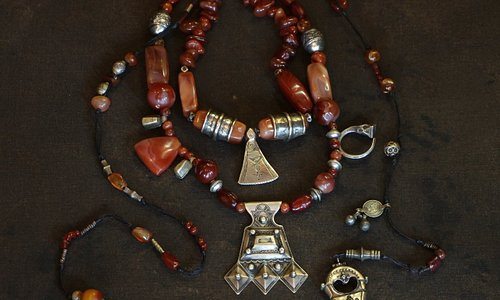 Ethnic jewelry made by Tuareg nomads and designed by Leslie Clark