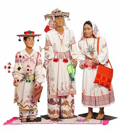 Huichol Family from Nayarit, Mexico.
