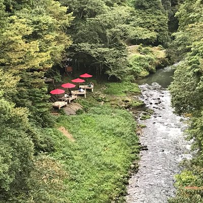 Riverside cafe in Kakusenkei Gorge