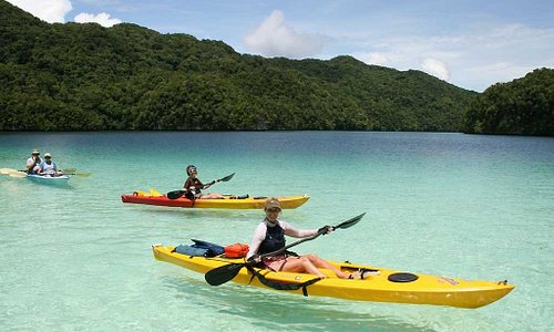 Kayaking through the islands.