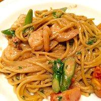 ポルチーニと魚介のクリームスパゲッティ
