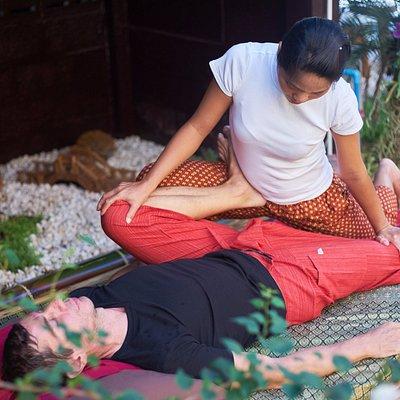 Thai massage in the garden