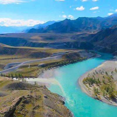 The confluence of Chuya and Katun rivers.