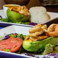 Shrimp Stuffed Avocado @ Cafe El Punto