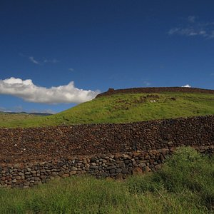 View of preserved walls and Heiau