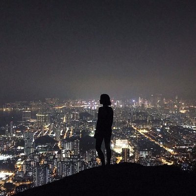 View of Kowloon at night! Join our mountain trekker adventure! Click on our website for more!