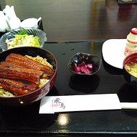Unagi rice set with salad, miso soup, tea and Yakult