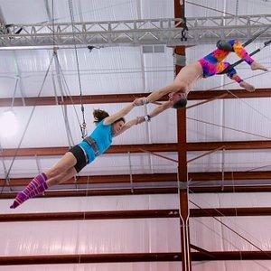 Flying trapeze catch at Trapeze School New York - Washington DC