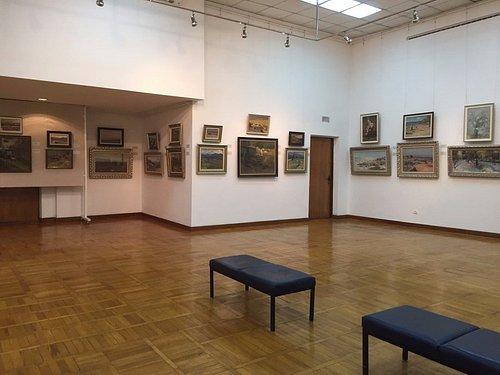 Зал с выставкой местного художника