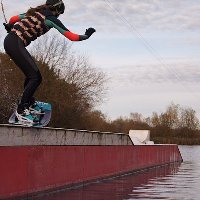 Hitting the kink rail on the wake park cable.