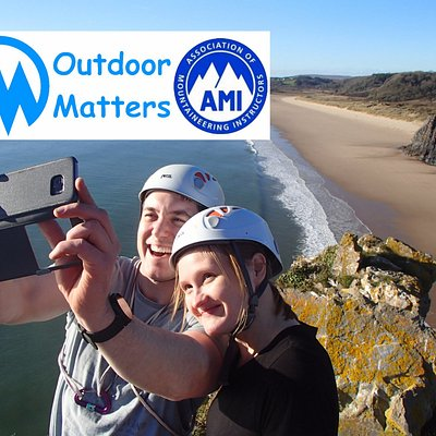Climbing selfie on Gower clifftop - always a big smile when you reach the top!