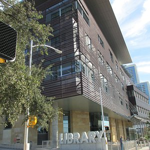 Library entrance on Cesar Chavez (South of the library)