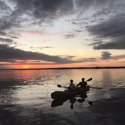 arriving back at sunset
