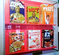 Vintage 1980's cereal boxes on display at Totally 80's Pizza.