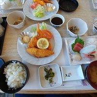 Fried mix and sashimi