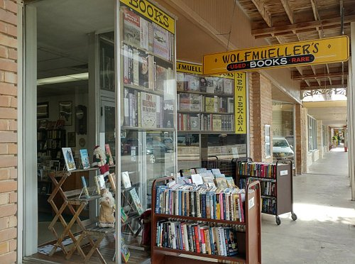 Curbside view of Wolfmuellers Bookstore