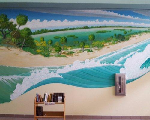 Rick Piper custom mural in the Cocoa Beach Public Library